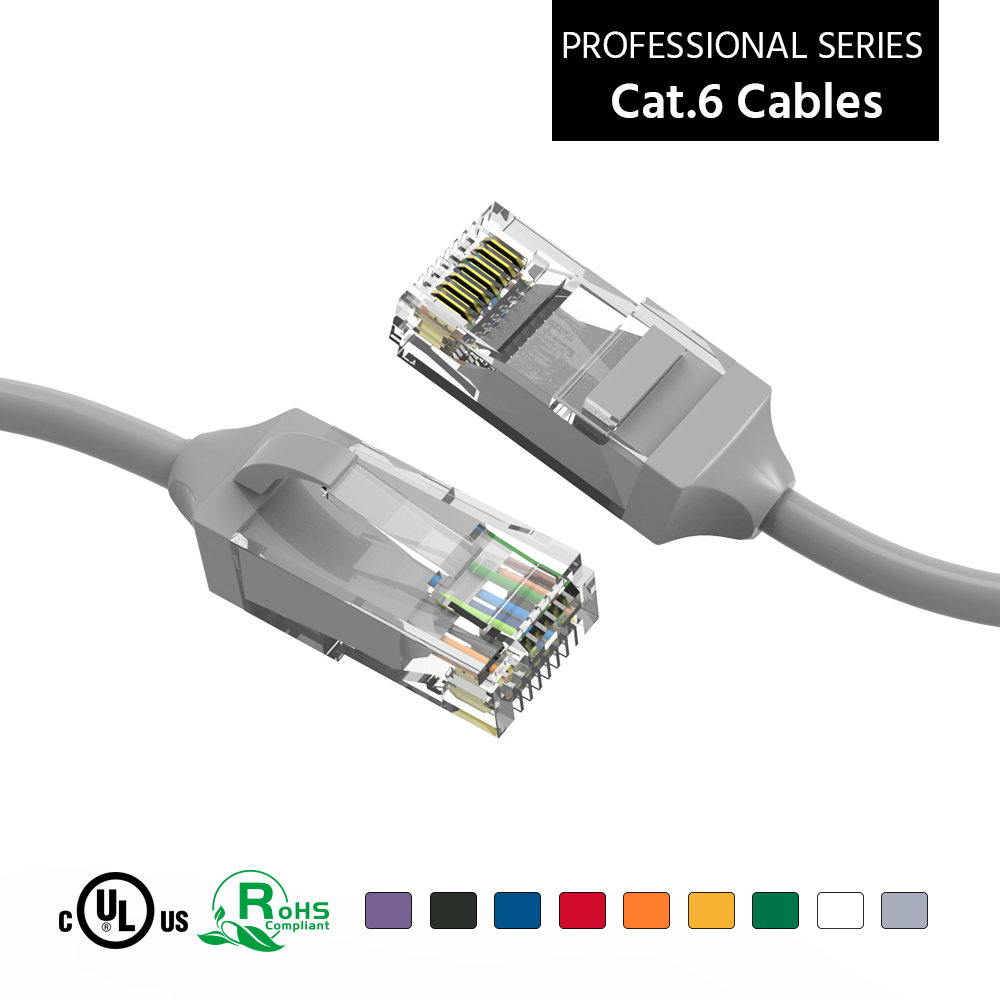 1Ft Cat6 UTP Slim Ethernet Network Booted Cable Gray