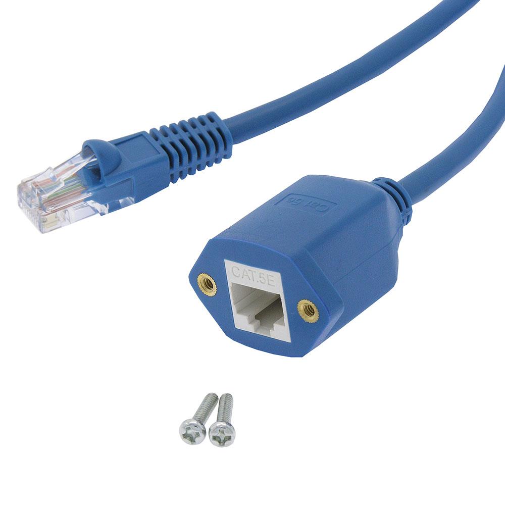 2Ft Panel-Mount Cat.5E Ethernet Cable Blue - Bestlink Netware