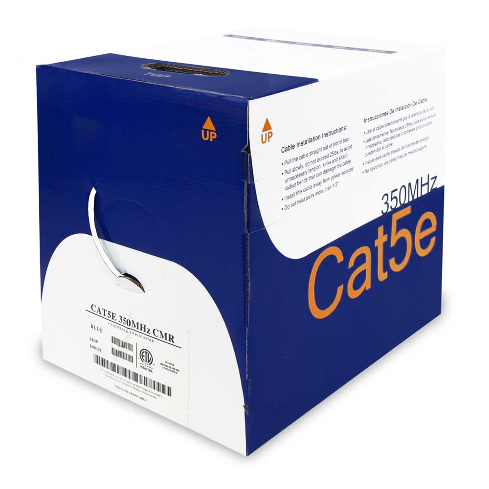 1000Ft Cat.5E Solid Wire Bulk Cable White CMR