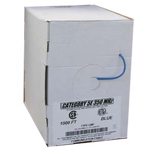1000Ft Cat.5E Solid Cable Plenum Blue, UL/ETL/CSA