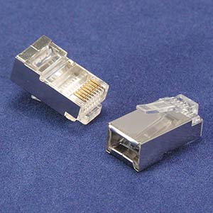 RJ45 Cat.5E Shielded Plug Solid 50 Micron 20pk