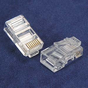 RJ45 Cat.5E Plug Solid 2Prong 6Micron 20pk