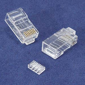 RJ45 Cat.6 Plug Solid 50 Micron 2 Prong w/Inserter 100pk