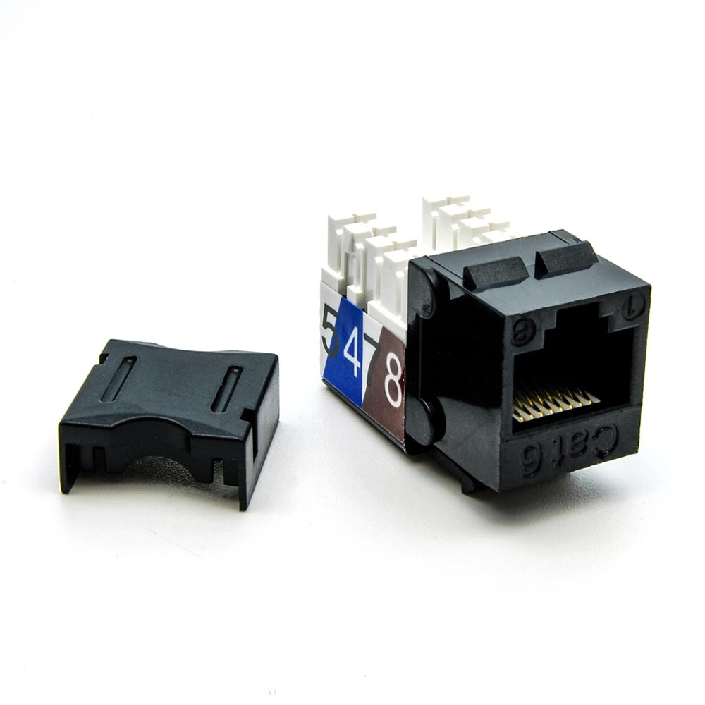 Cat.6 RJ45 110 Type Keystone Jack Black