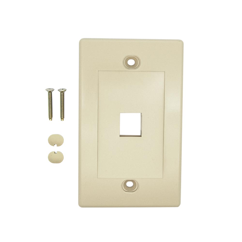 1Port Keystone Wallplate Ivory Decora Type