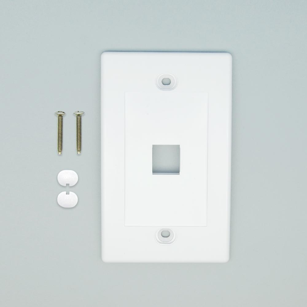1Port Keystone Wallplate White Decora Type