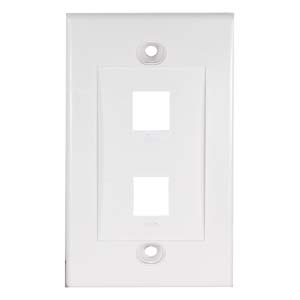 2Port Keystone Wallplate White Decora Type