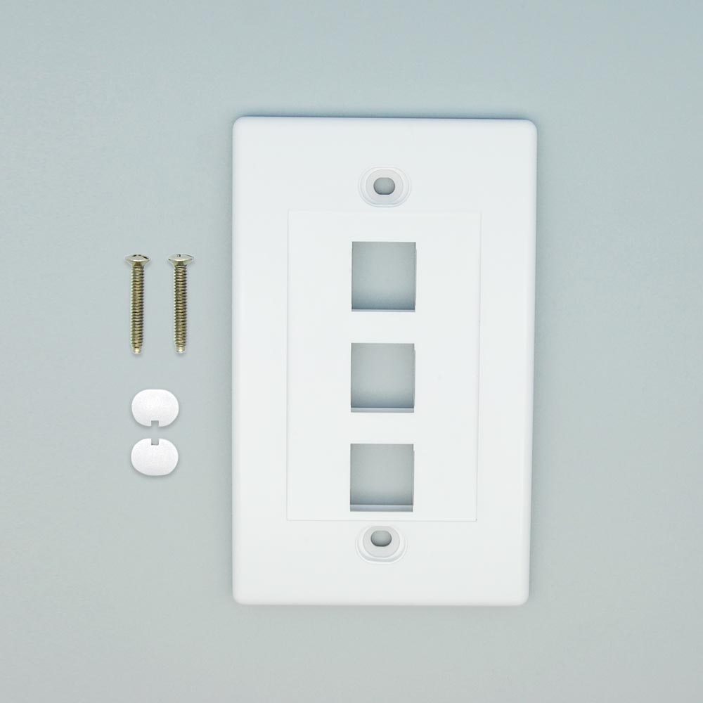 3Port Keystone Wallplate White Decora Type