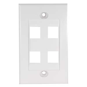 4Port Keystone Wallplate White Decora Type