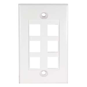 6Port Keystone Wallplate White Decora Type