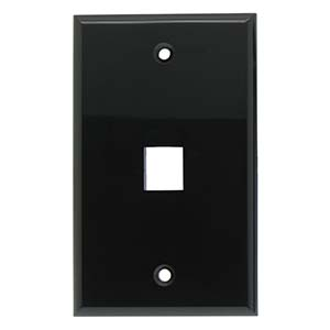 1Port Keystone Wallplate Black Smooth Face
