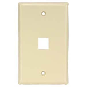 1Port Keystone Wallplate Ivory Smooth Face