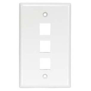 3Port Keystone Wallplate White Smooth Face