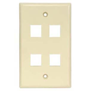 4Port Keystone Wallplate Ivory Smooth Face