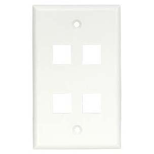 4Port Keystone Wallplate White Smooth Face