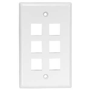 6Port Keystone Wallplate White Smooth Face