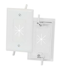 1-Gang Feed-Through Wall Plate with Flexible Opening, White
