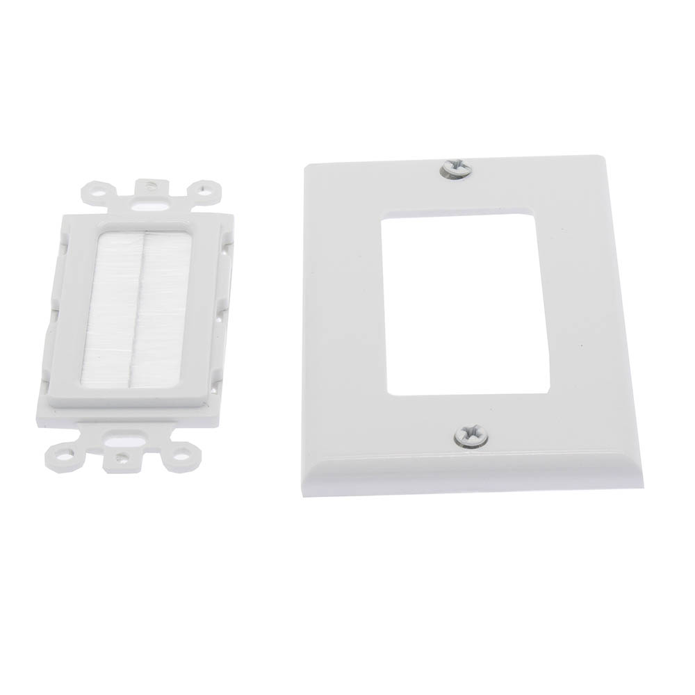1 Gang Brush Wall Plate White Bestlink Netware