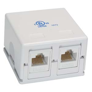 Cat.6 2Port Surface Mount Box White