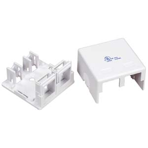 2 Port RJ45 Surface Mount Box White (Box only)