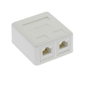 Cat.5E 2Port Surface Mount Box White w/Jack