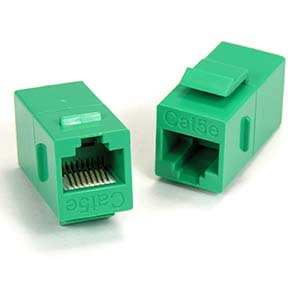 Cat.5E Inline Coupler w/Keystone Latch Green