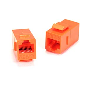 Cat.5E Inline Coupler w/Keystone Latch Orange