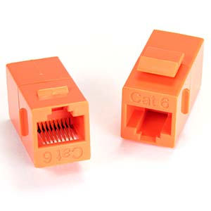 Cat.6 Inline Coupler w/Keystone Latch Orange