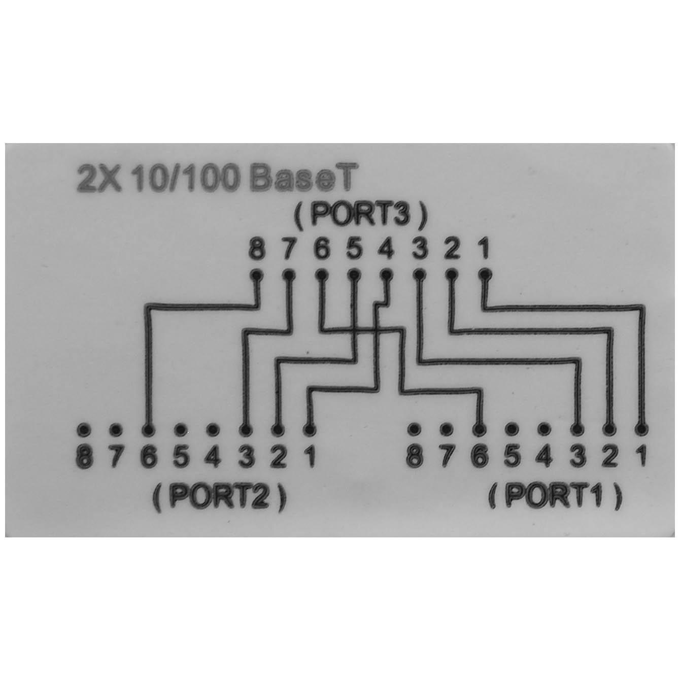 10/100 BaseT RJ45 1P/2J Type 8 Wiring Splitter, Pigtail Type ...