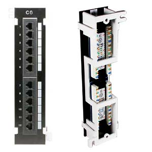 Cat.6 110 Type Patch Panel 12Port Vertical w/Bracket