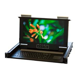 "19"" 1U Short Depth Wide Screen One Port KVM LCD, KVM-01WS"