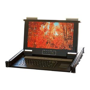 "19"" 1U Short Depth Wide Screen Eight Ports KVM LCD, KVM-08WS"