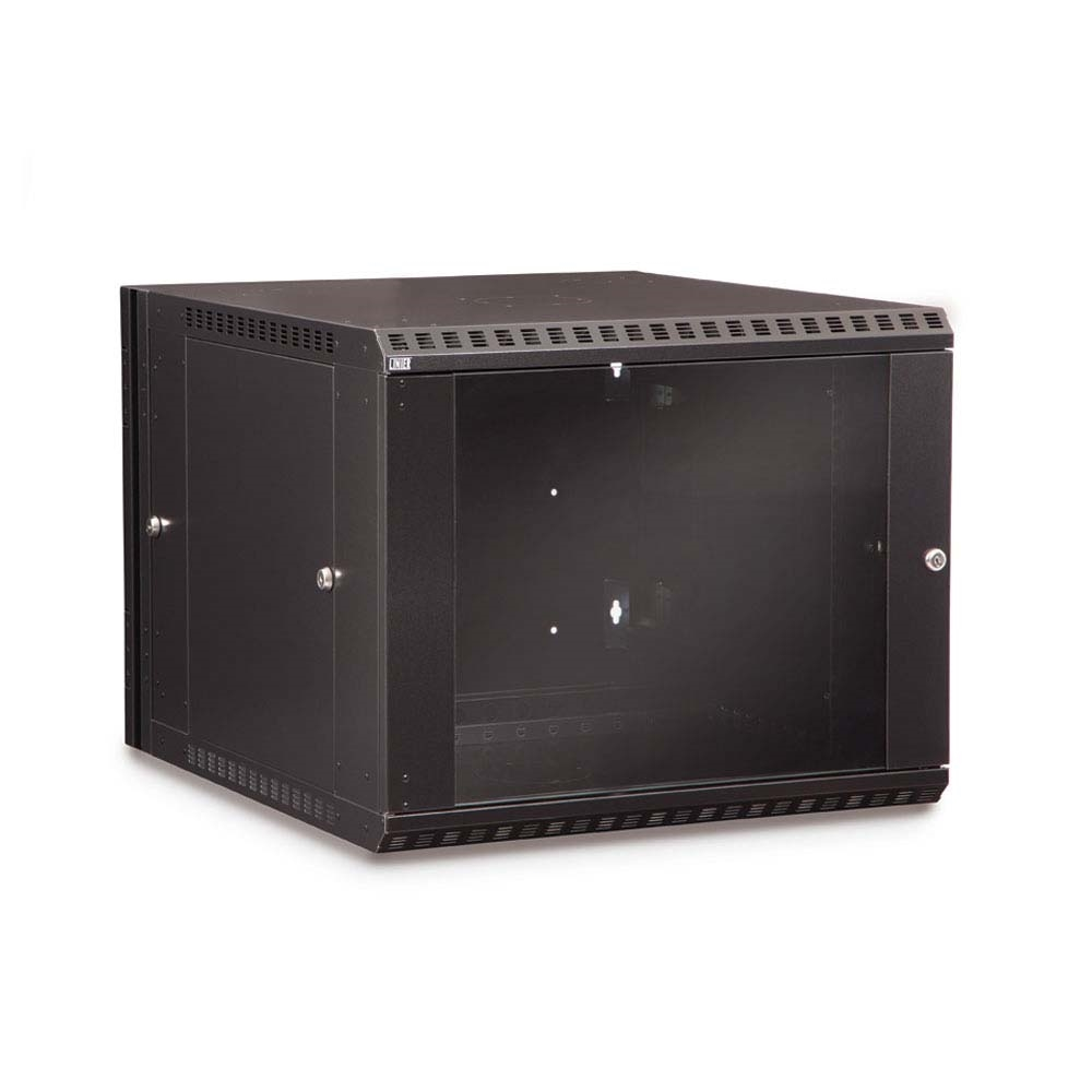 9U Swing-Out Wall Mount Cabinet - Glass Door
