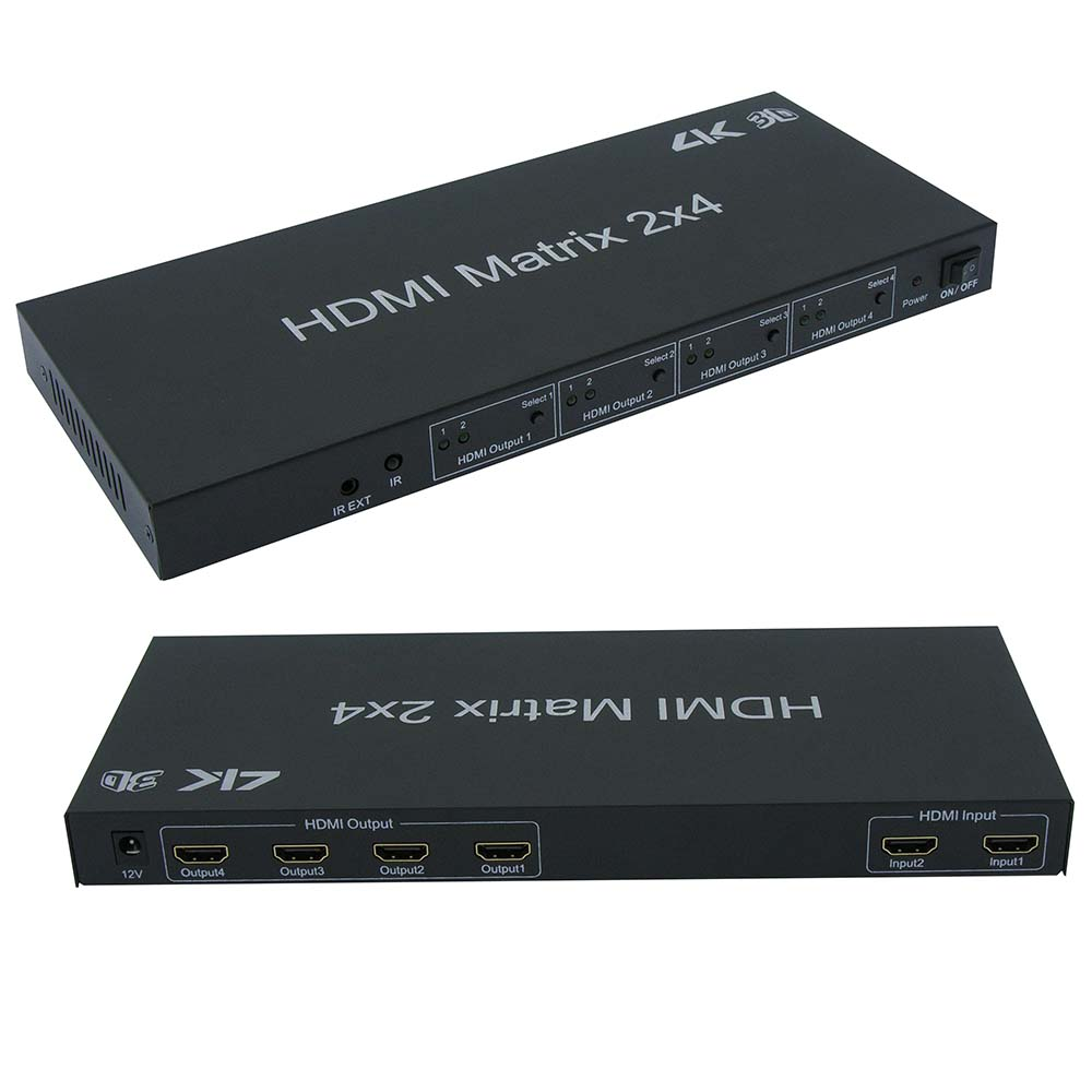 HDMI 2x4 Matrix with IR Remote Control Extension, 3D