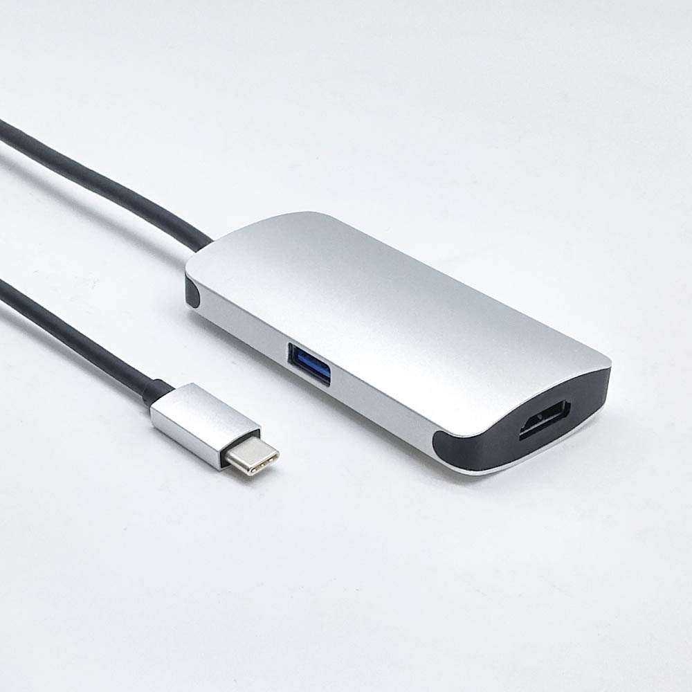 USB Type C (Thunderbolt) Male to HDMI + C + USB 3.0 Female 3 in 1 Adapter