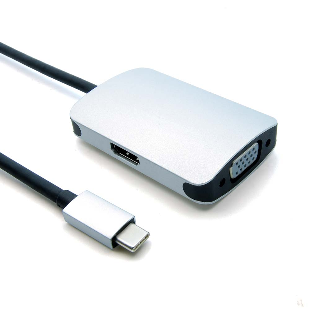 USB Type C Male to VGA Female +HDMI Female Adapter