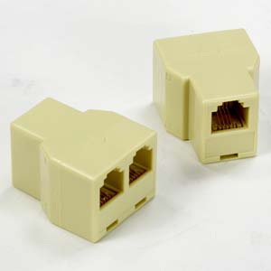 RJ12 1Jack/2Jack T adapter, Straight Beige