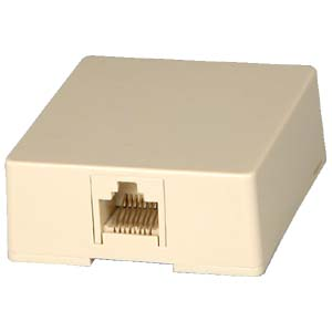 RJ45 Modular Single Port Surface Mount Jack Ivory