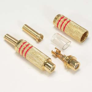 RCA Jack Metal Gold Plated Red Stripe w/Spring