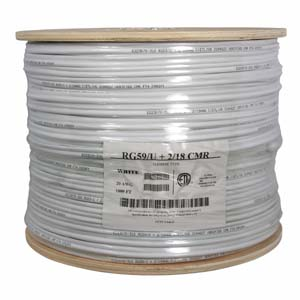 1000Ft RG59 w/2x18AWG Power White CM