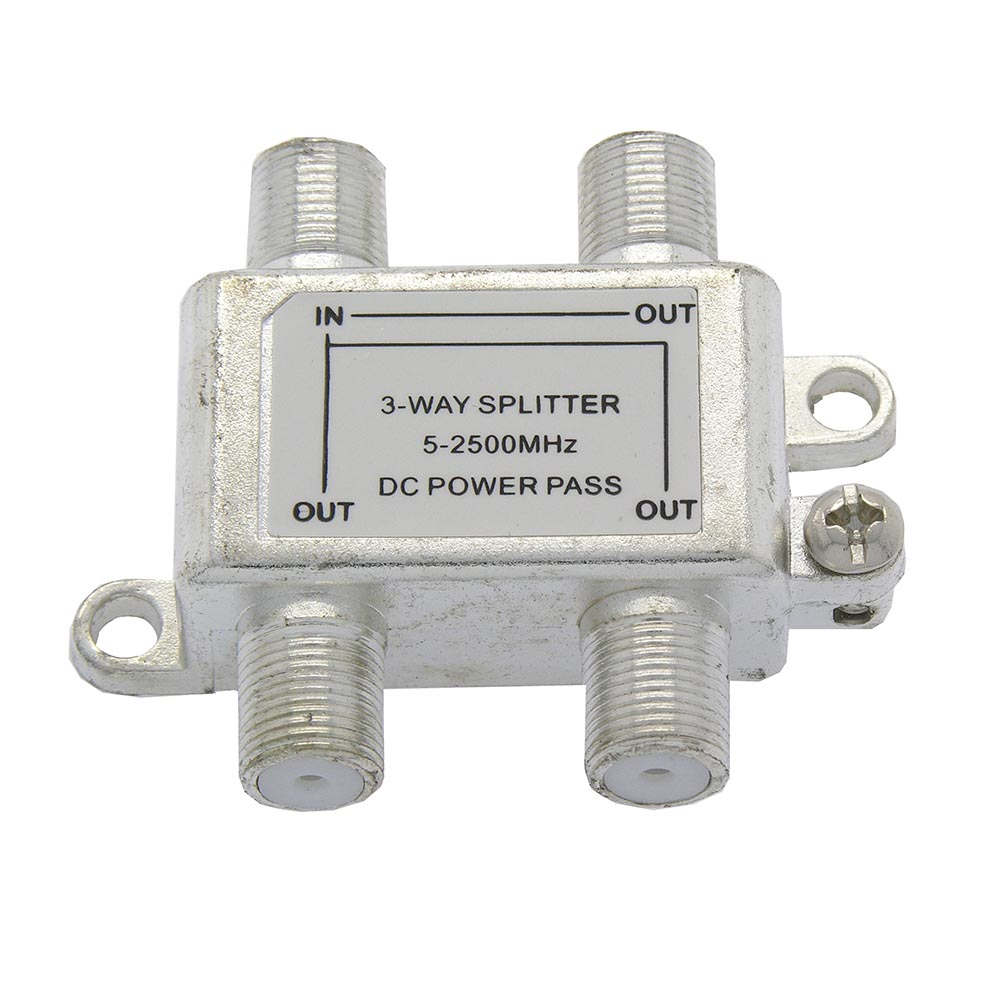 3Way 2.5GHz Satellite Splitter DC Power Pass