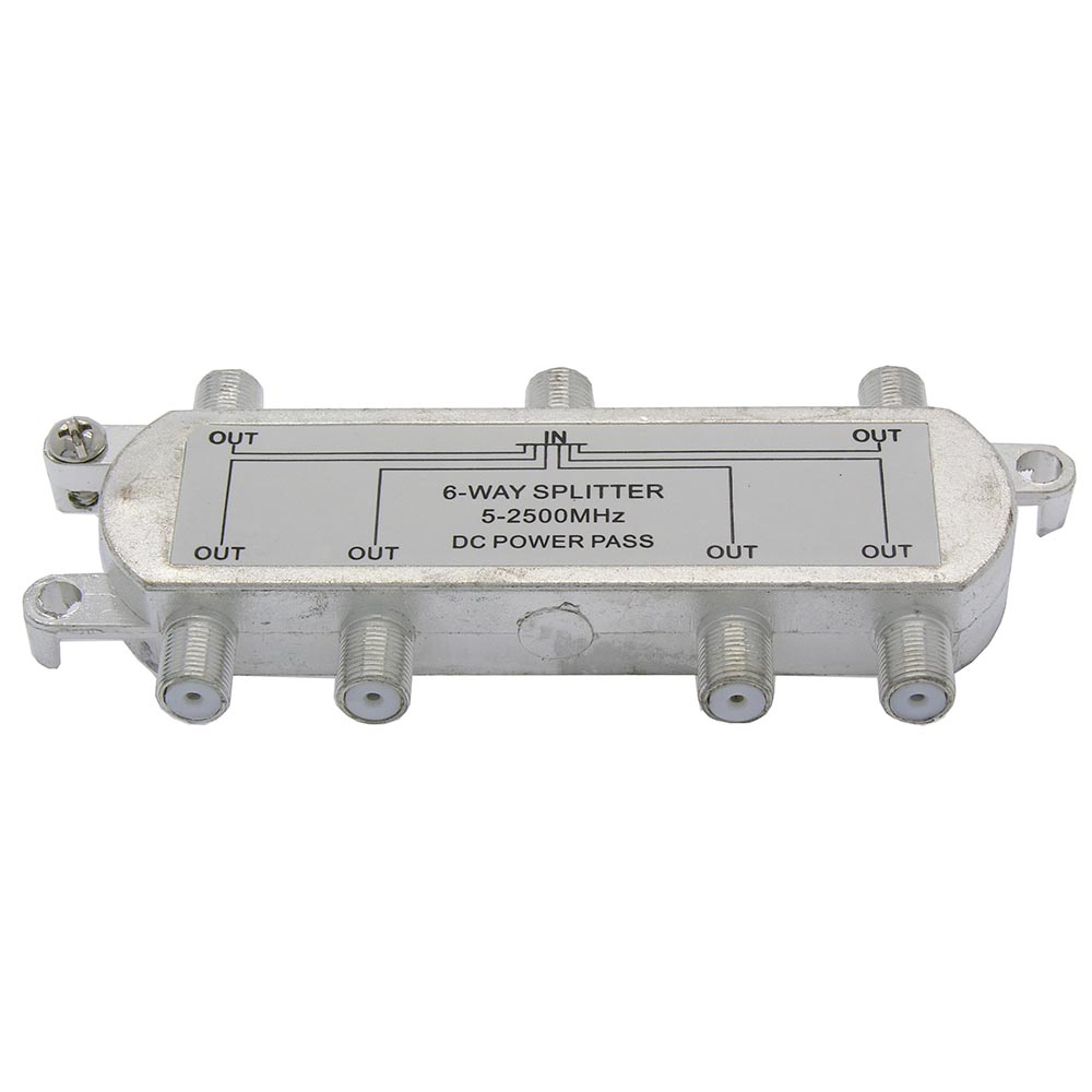 6Way 2.5GHz Satellite Splitter DC Power Pass