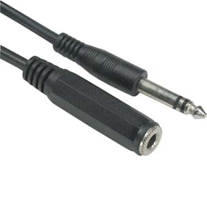 "6Ft 1/4"" Stereo Male/Female cable"