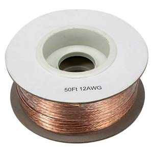 50Ft 12AWG/2 Polarized Speaker Wire Spool CCA Clear Jacket