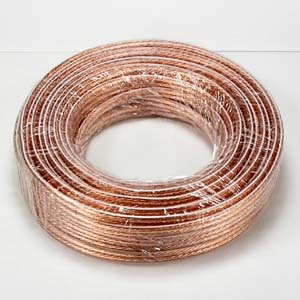 50Ft 14AWG/2 Polarized Speaker Wire Coil CCA Clear Jacket
