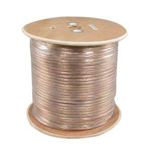 1000Ft 16AWG/2 Polarized Speaker Wire Coil CCA Clear Jacket
