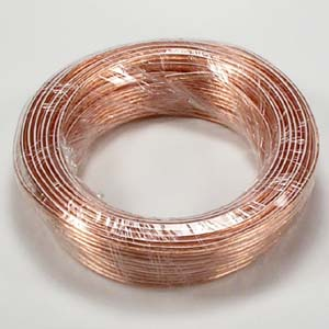 50Ft 18AWG/2 Polarized Speaker Wire Coil CCA Clear Jacket