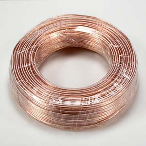 100Ft 18AWG/2 Polarized Speaker Wire Coil CCA Clear Jacket