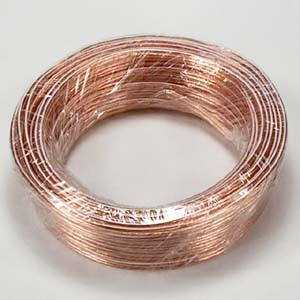 50Ft 22AWG/2 Polarized Speaker Wire Coil CCA Clear Jacket