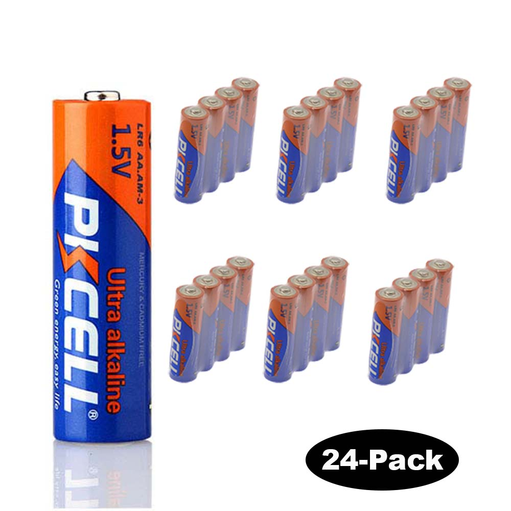 24-Pack 1.5V AA/LR6 Alkaline Battery PKCELL